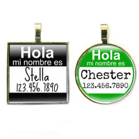 Hola Spanish Hello Name Tag- Custom Graphic Pet ID Tag