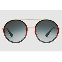 Gucci - GG0061S Endura Gold Sunglasses, Green Lenses