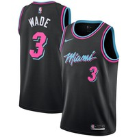 Men's Miami Heat #3 Dwyane Wade Nike Black 2018/19 Swingman Jersey – City Edition - Best Deal Online