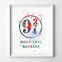 Hogwarts Express Harry Potter Watercolor Poster Nursery Decor Art Print UNFRAMED by Inkist Prints
