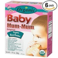Baby Mum-Mum Rice Rusks, 24 Pieces, Organic Original Flavor (Pack of 6)