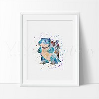 Blastoise, Pokemon Go Watercolor Art Print