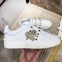 Valentino Trending Women Men Casual Leather Heart Diamond Sneakers Sport Shoes