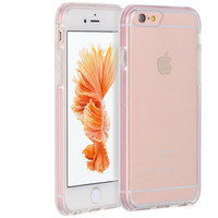 """APPLE IPHONE 6 PLUS/6S PLUS (5.5"""") INVISIBLE BUMPER HYBRID CASE ULTRA THIN AGUA CLEAR + PINK INNER FRAME"""