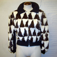 Patchwork Fur Coat Vintage 1970s Cropped Rabbit Jacket Patch work Black and White Short