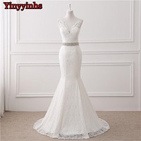 In Stock Real Photos Wedding Gown White Lace Cheap Mermaid Wedding Dress 2018 Vestido De Noiva SweepTrain Bridal Gowns GHS01