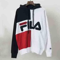 FILA Autumn and winter new fashion letter hooded splice sweater top Blue