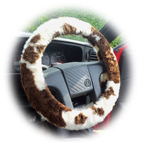 Brown Cow animal print faux fur furry fluffy fuzzy car Steering wheel cover