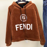FENDI Autumn Winter Popular Women Casual Print Long Sleeve Hoodie Velvet Sweater Top Sweatshirt Brown