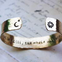 To the mind that is still the whole universe ...,brass secret message bracelet,sun moon,crescent bracelet,personalized gift, gold tone cuff