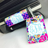 Monogrammed Luggage Handle Wrap / Tropical Flowers Luggage Tag SET / Personalized  / Personalized  Bag Tag / Lilly Inspired Bag Tag