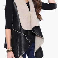 Black Shearling Fall Fashion Vest