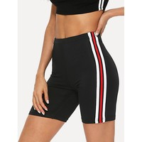Striped Tape Side Legging Shorts Black