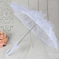 Womens Western Style Hollow Out Floral Lace Umbrella Wedding Bridal Manual Opening Fleur Parasol Ruffles Trim Romantic Photo FREE SHIPPING