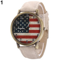 Punk women men's Fashion United States Flag wristwatch Denim Strap dial Quartz casual Retro Bracelet Watch popular goods = 1930061188