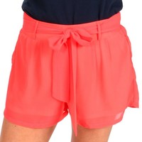 Tie It Up Neon Coral High Waisted Shorts   Monday Dress Boutique