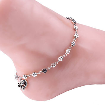 Silver Bead Chain Flower Pattern Charm Bead Anklets for Women Ankle Bracelet Chain Crystal Foot Jewelry CF
