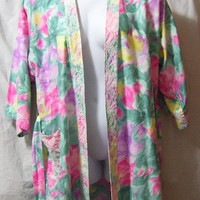 Wrap Belted  Robe, Summer, Lounging, Dressing, Multi Floral, Pink Lilac Green,, Lace Accents, Handmade, Size L Large, XL Extra Large