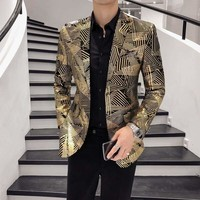 Luxury Gold Stripes Print Blazer Men Blazer