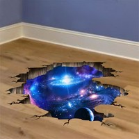 [SHIJUEHEZI] Outer Space Planets 3D Wall Stickers Cosmic Galaxy Wall Decals for Kids Room Baby Bedroom Ceiling Floor Decoration