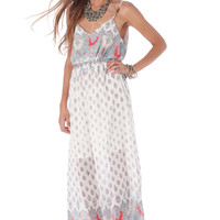 Red maxi dress in floral print