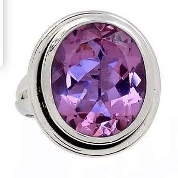 Alexandrite Oval Sterling Silver Ring