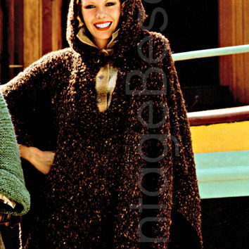 HOODED PONCHO 1970s Vintage KNITTING Pattern Instant Download Pdf easy knitting pattern that is short too...best hooded poncho pattern ever!