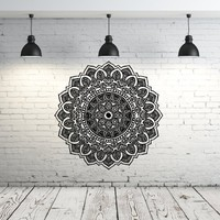 Mandala Wall Decal Yoga Studio Vinyl Sticker Decals Ornament Moroccan Pattern Namaste Lotus Flower Home Decor Boho Bohemian Wall Decal Bedroom Dorm ZX104