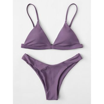 Women's Dark Lavender Triangle Top Two Piece Swimsuit Bikini Set with Adjustable Straps