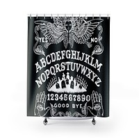 Ouija Board Black Shower Curtains