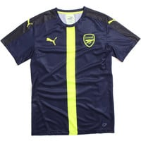 Arsenal FC 2016/17 Cup Stadium Training Soccer Jersey Peacoat Navy / Safety Yellow