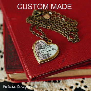 Custom Map Necklace, Small Heart Locket, Brass Chain, Personalized Map Jewelry, Bridesmaids, Wedding, Made to Order