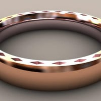 Rose Gold Thin Disigner 4mm Mens Wedding Band with Side Design, Classic 14kt Rose Gold Wedding Ring, Hipster Ring, Thin Mens Wedding Ring