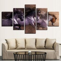 3 Horses Galloping Panel Wall Decor Art Picture Print on Canvas Framed Unframed