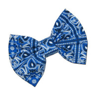 Bandana hair bow blue and white rockabilly by SassyShugaBoutique