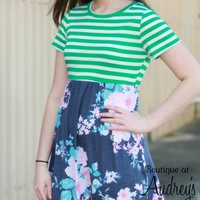 Green Stripe and Gray Floral Print Short Sleeve Dress with Pockets