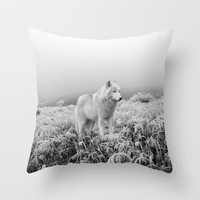 Winter Wolf Throw Pillow by Willow Wilson