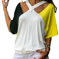 Yellow Black Raglan Sleeves Open Shoulder Shirt