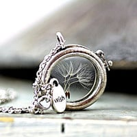 Window Locket Necklace with real dried DANDELION SEEDS. Antique silver colored chain. Spring Jewelry for her.