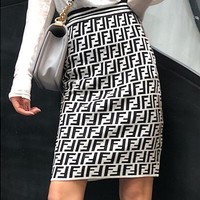 FENDI Classic Fashion Women Double F Letter Jacquard High Waist Knit Skirt White I13826-1