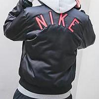 NIKE New fashion embroidery letter hook long sleeve coat jacket Black