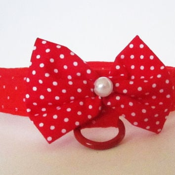 Dog Collar:Red Polka Dots and Pearl Bow Collar for Girl Dog