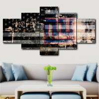 Wall Art Deco Frame Canvas Print Painting 5 Pieces New York Giants Sports Logo Poster Picture Living Room home decor