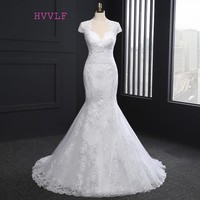 Plus Size 2017 Vintage Wedding Dresses Mermaid Cap Sleeves Appliques Lace Wedding Gown Bridal Dresses Bridal Gown