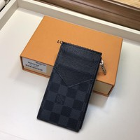 Kuyou Gb1986 Louis Vuitton Lv M64038 Damier Graphite Taiga Leather Small Leather Goods Key & Card Holders Coin Card Holder