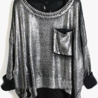 Silver Long Sleeve Ripped Hollow Pocket Pullovers Sweater - Sheinside.com