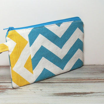 Turquoise and Yellow Chevron Clutch Bag, Cell Phone Wallet