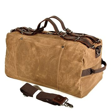 Large Capacity Men Leather Hand Luggage Travel Duffle Carry On Bags Canvas Waxed Weekend Shoulder Multifunctional Overnight Bags