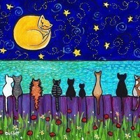 Full Moon Cats , kittens, ocean, fence, from painting by Shelagh Duffett