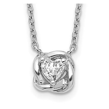 14k White Gold Heart Shaped Real Diamond Necklace